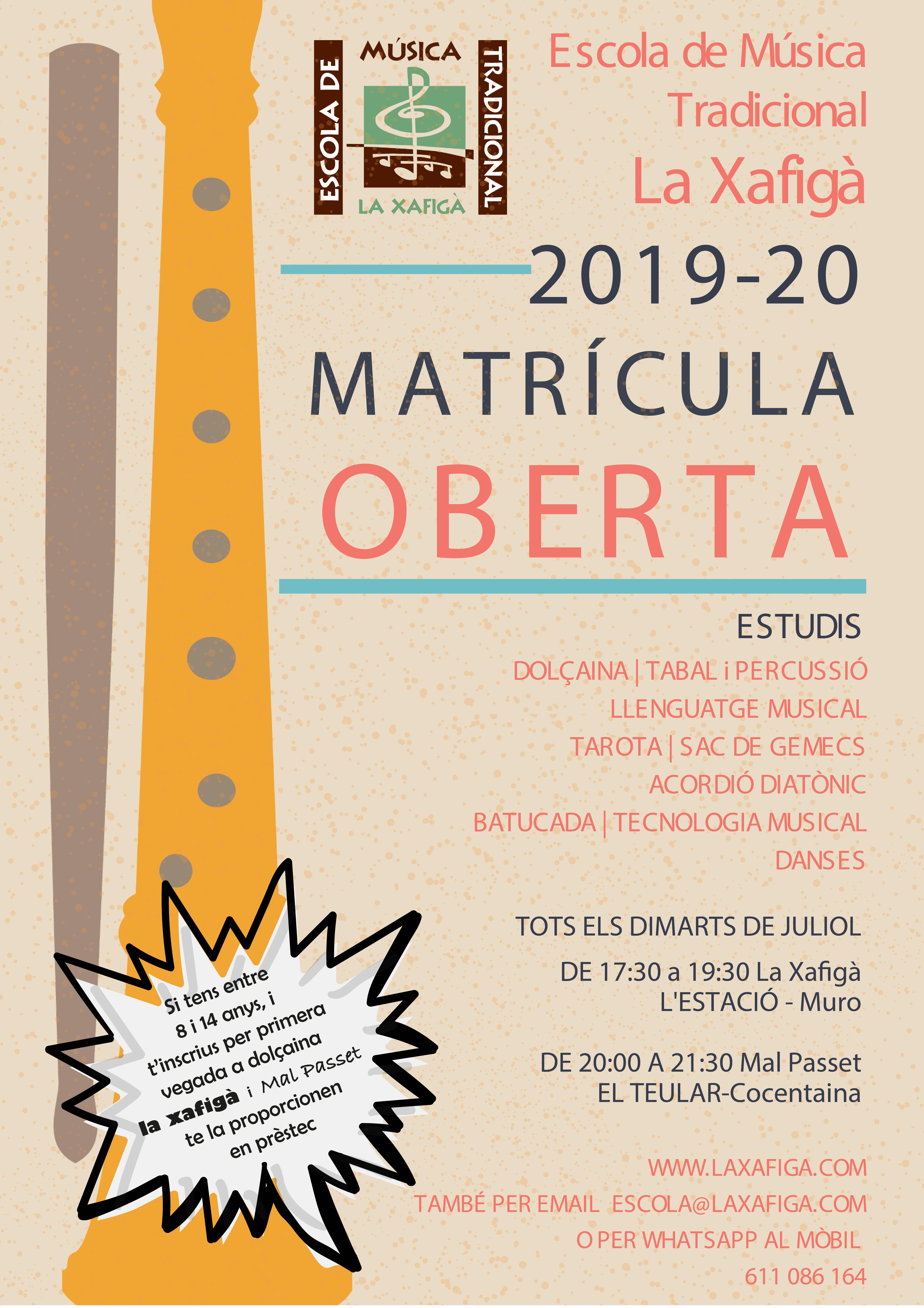 2019-20 cartell matricula emt la xafigà-01